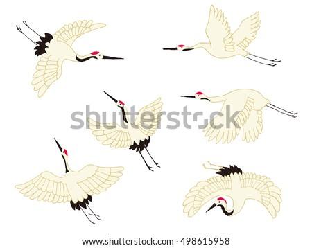 japanese crane icon on a white