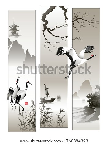 japanese cranes and fishermen