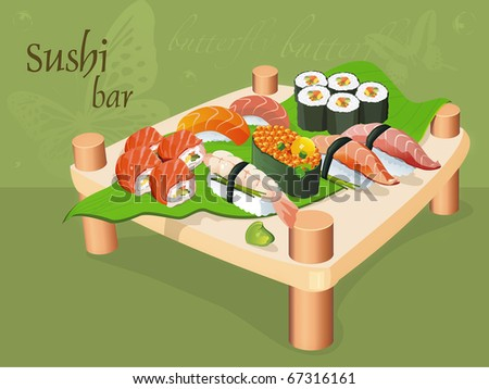 Japanese cuisine: seafood and other on wooden plate. East motives. Seafood set, vector illustration and other traditional Japanese food.