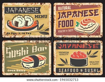Japanese cuisine seafood rusty metal plate. Sushi bar, restaurant menu vector tin sign. Japanese seafood grunge plates with rice balls, nigiri and gunkan maki sushi rolls, typography and rust texture
