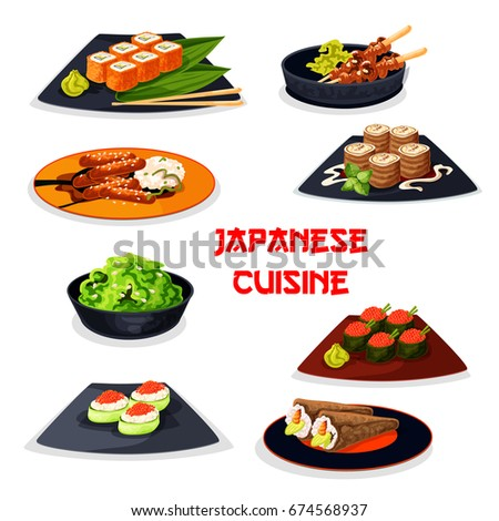 Japanese cuisine seafood sushi and meat dishes icon. Sushi roll and temaki with fish, shrimp, seaweed, cucumber and caviar, teriyaki pork with rice, grilled chicken yakitori, sweet pancake roll