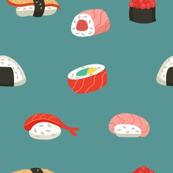 Japanese cuisine. Seamless pattern. Sushi and rolls.