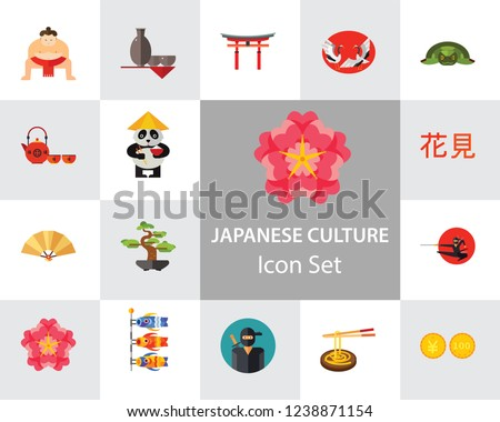 japanese culture icon set koi