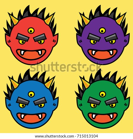 Stock Photo Japanese demon Head. Hand drawn and Asian tattoo design. Red, Purple, Blue, Green Oni Head tattoo.