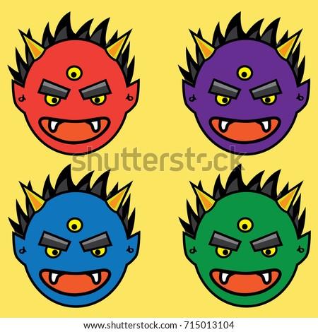 Stock Photo Japanese demon Head. Hand drawn and Asian tattoo design. Red, Purple, Blue, Green Oni Head tattoo.