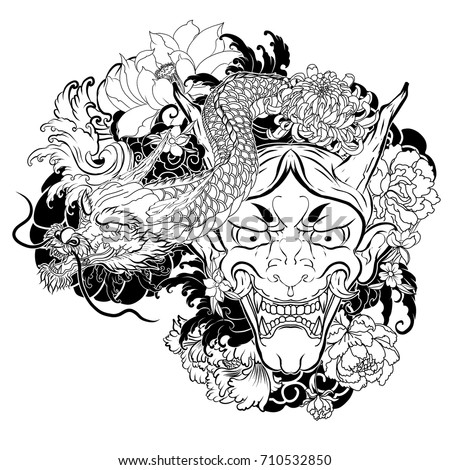 japanese demon mask with lotus