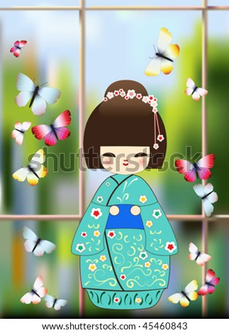 japanese doll window and