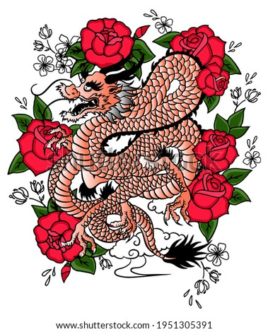 japanese dragon with read rose