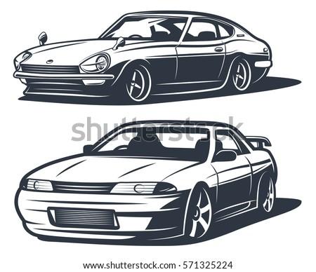 japanese drift cars  monochrome