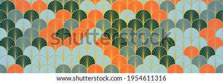 Japanese Fan Golden Seamless Pattern. Geometric Bohemian Asian Wave Pattern. Premium Japanese Clothes Design. Elegant Kimono Fabric. Vintage Gold Chinese Seamless Pattern. Soft Shell Curve Texture Stock fotó ©