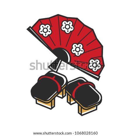 Japanese fan with floral pattern and traditional flip-flopes