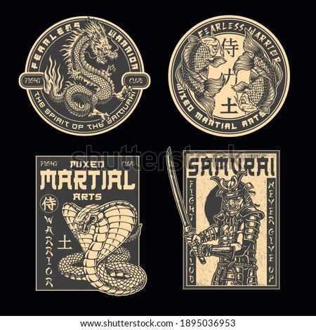Japanese fight academy vintage prints with koi carps snake fantasy dragon and samurai warrior in armor with katana sword isolated vector illustration. Japan translation - Samurai, Warrior, Power