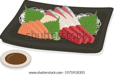 Japanese food Assorted 3 kinds of sashimi (salmon, tuna, yellowtail) Foto d'archivio ©