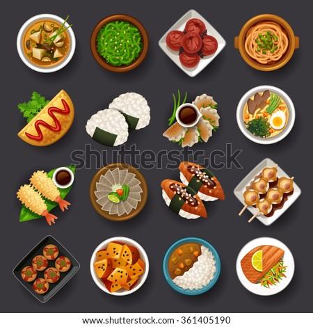 Japanese food icon set