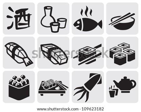 Japanese food icon set of sushi