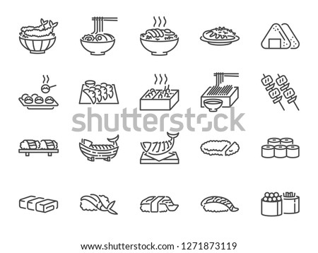 Japanese food line icon set 1. Included the icons as sushi, sashimi, maki, sushi roll, Tonkatsu and more.