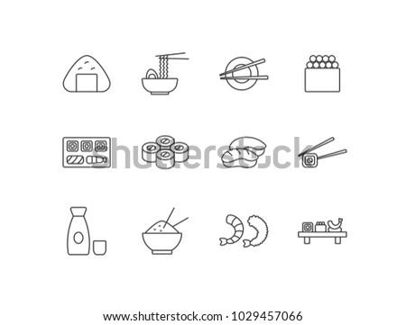Japanese food line icons set with rice balls, ramen noodles, chopsticks, sushi tray, sake bottle, rice bowl, shrimp.