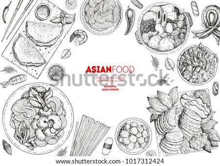 Japanese Food menu design template, engraved elements. Asian cuisine sketch collection. Hand drawn vector illustration.  Asian Food set.