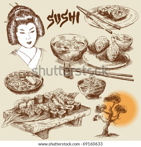 japanese food-original hand drawn collection