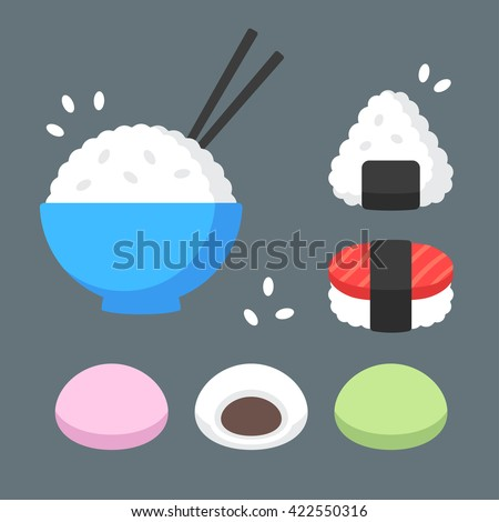 Japanese food rice dishes icon set. Bowl of rice with chopsticks, onigiri and sushi, mochi rice cakes with red bean paste filling. Flat cartoon vector icons.