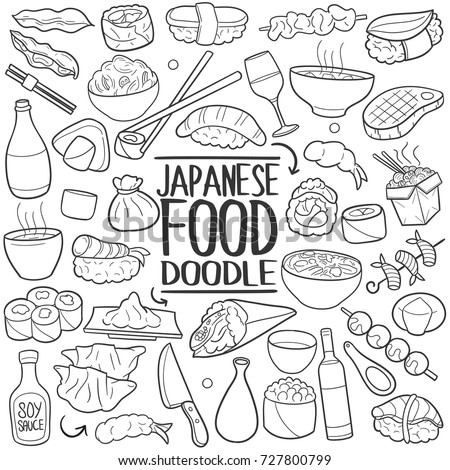 Japanese Food Traditional Doodle Icons Sketch Hand Made Design Vector