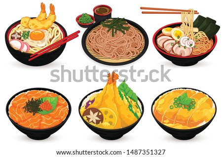 Japanese Food (Udon, Soba, Ramen, Salmon Ikura Don, Katsudon and Tendon)  Illustration vector.