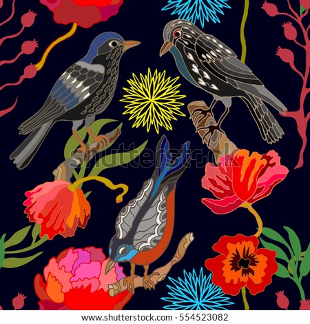 Japanese garden. Seamless oriental pattern with Victorian motifs. Blooming summer poppies, leaves and blackbirds. Vintage textile collection. Colorful on dark blue.