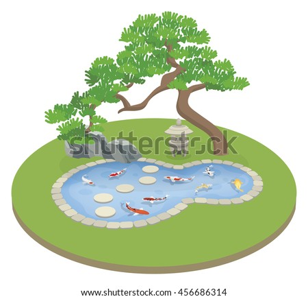 Stock Photo japanese garden with koi pond and pine tree