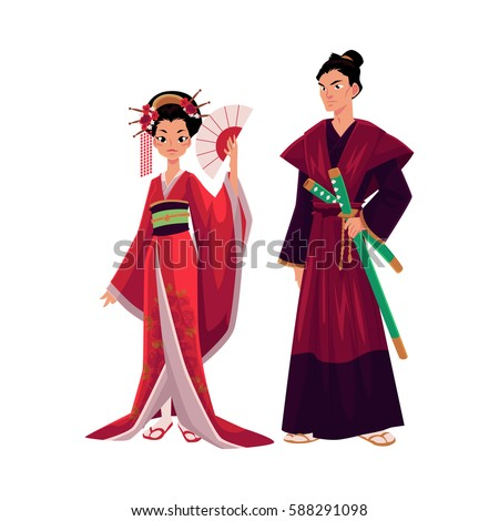 japanese geisha and samurai in