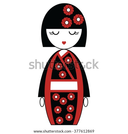 japanese geisha doll with black