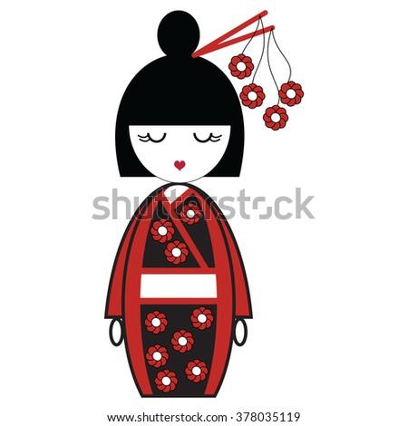 japanese geisha doll with black