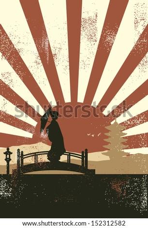 japanese geisha on the bridge