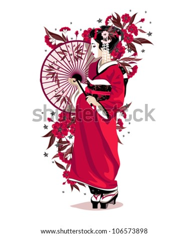 japanese girl in red