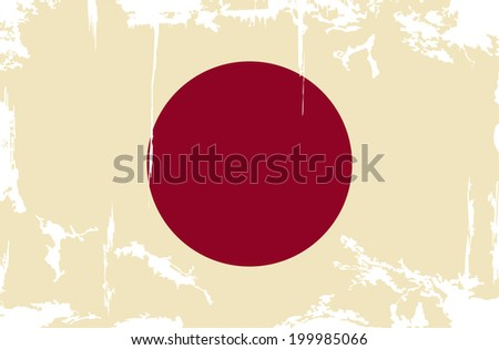 Japanese grunge flag. Vector illustration. Grunge effect can be cleaned easily.