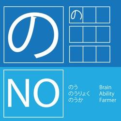 Japanese hiragana flash card character NO with stroke and example words (nou: Brain, nouryoku: Ability, nouka: Farmer)