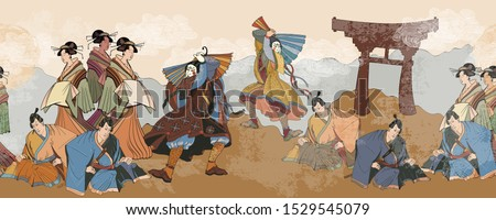 Japanese horizontal seamless pattern. Kabuki actors. Classical engraving art. Asian culture. Medieval Japan background. Samurai and geishas. Ancient illustration