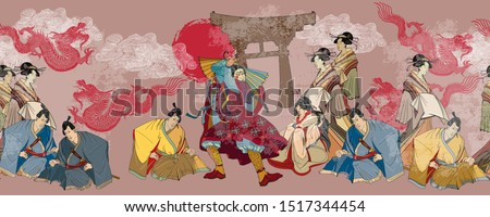 Japanese horizontal seamless pattern. Samurai, gragons and geishas. Ancient illustration. Classical engraving art. Asian culture. Kabuki actors. Medieval Japan background