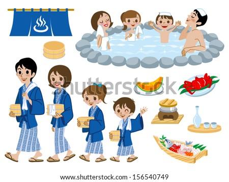 Japanese Hot Springs set,family Stockfoto ©