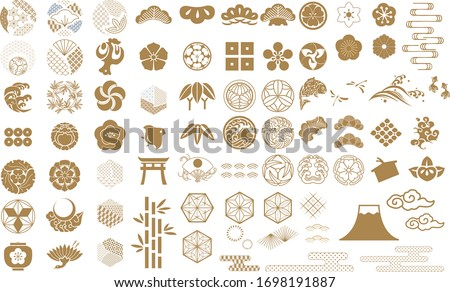 Japanese icon vector. Geometric logo and symbol elements. Gold object decoration in vintage. Fuji mountain, Cherry blossom flower, Bonsai, bamboo, cloud, wave and crest family sign. Foto d'archivio ©