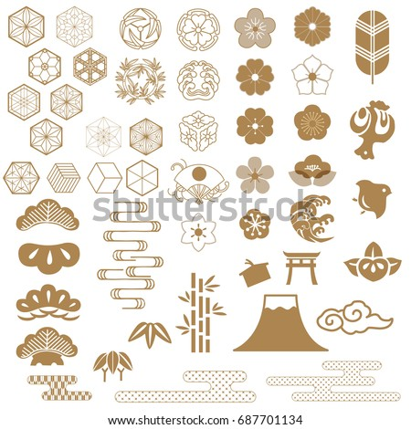 Japanese icons, crest vector. Bonsai, Bamboo, Cherry blossom lowers,Wave, Fan, Cloud, Fuji mountain, Cherry blossom elements.
