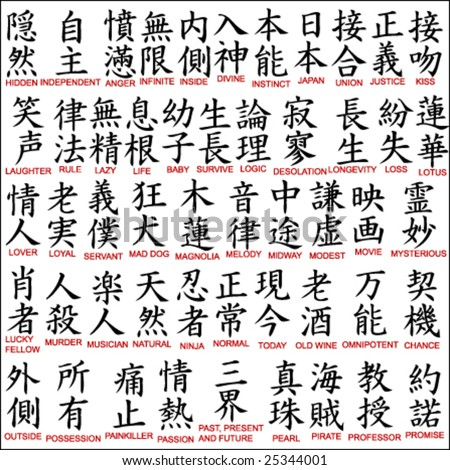 Chinese Lettering Tattoos on Japanese Kanji   Chinese Symbols 8 Stock Vector 25344001