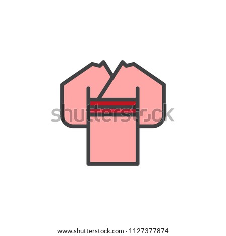 Japanese kimono filled outline icon, line vector sign, linear colorful pictogram isolated on white. Woman wears kimono symbol, logo illustration. Pixel perfect vector graphics