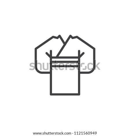 Japanese kimono outline icon. linear style sign for mobile concept and web design. Woman wears kimono simple line vector icon. Symbol, logo illustration. Pixel perfect vector graphics Stock fotó ©