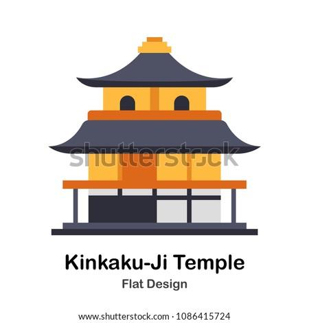 japanese kinkakuji temple flat