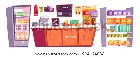 Japanese konbini shop isolated stuff and products, minimarket cashier desk, shelves with snacks or necessaries, fridge with cold drinks, convenience store for rapid consumption, Cartoon vector set