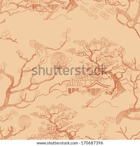 Japanese landscape Beautiful Asian pattern