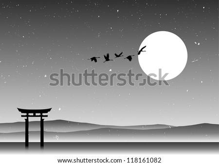 japanese landscape  silhouette
