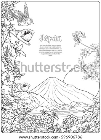 japanese landscape with mount