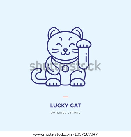 Japanese Lucky Cat Line Icon