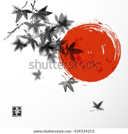 japanese maple leaves and red